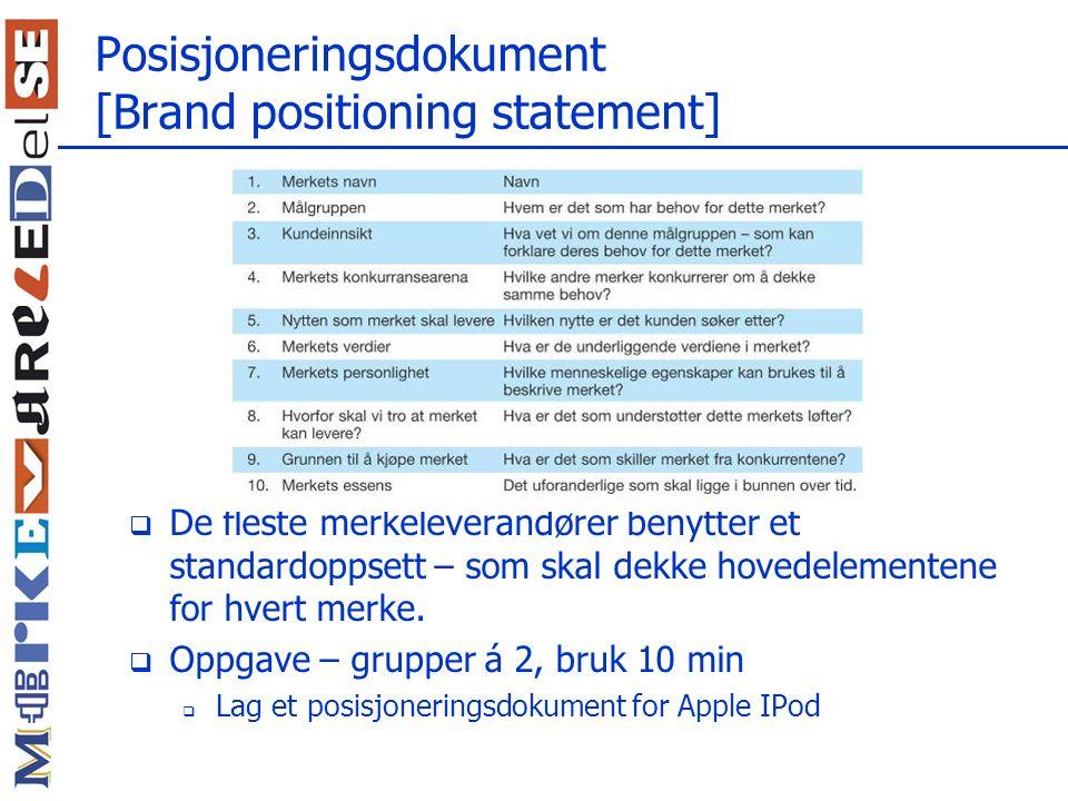 Posisjoneringsdokument [Brand positioning statement]